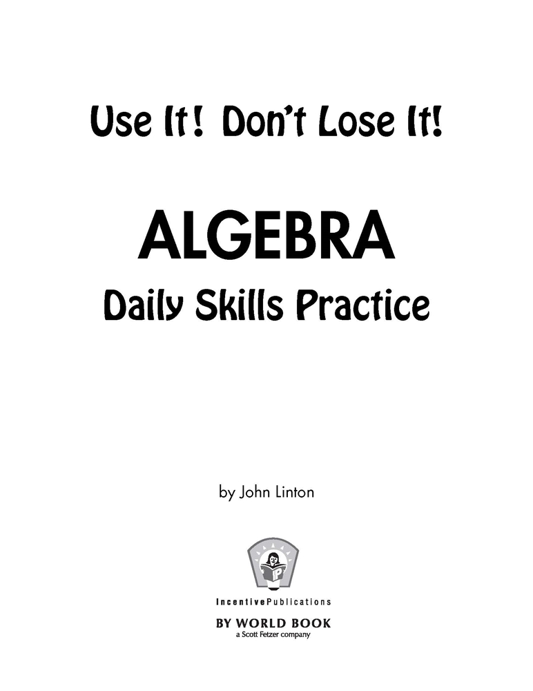 Daily Algebra Practice: Use It! Don't Lose It! #IP6134