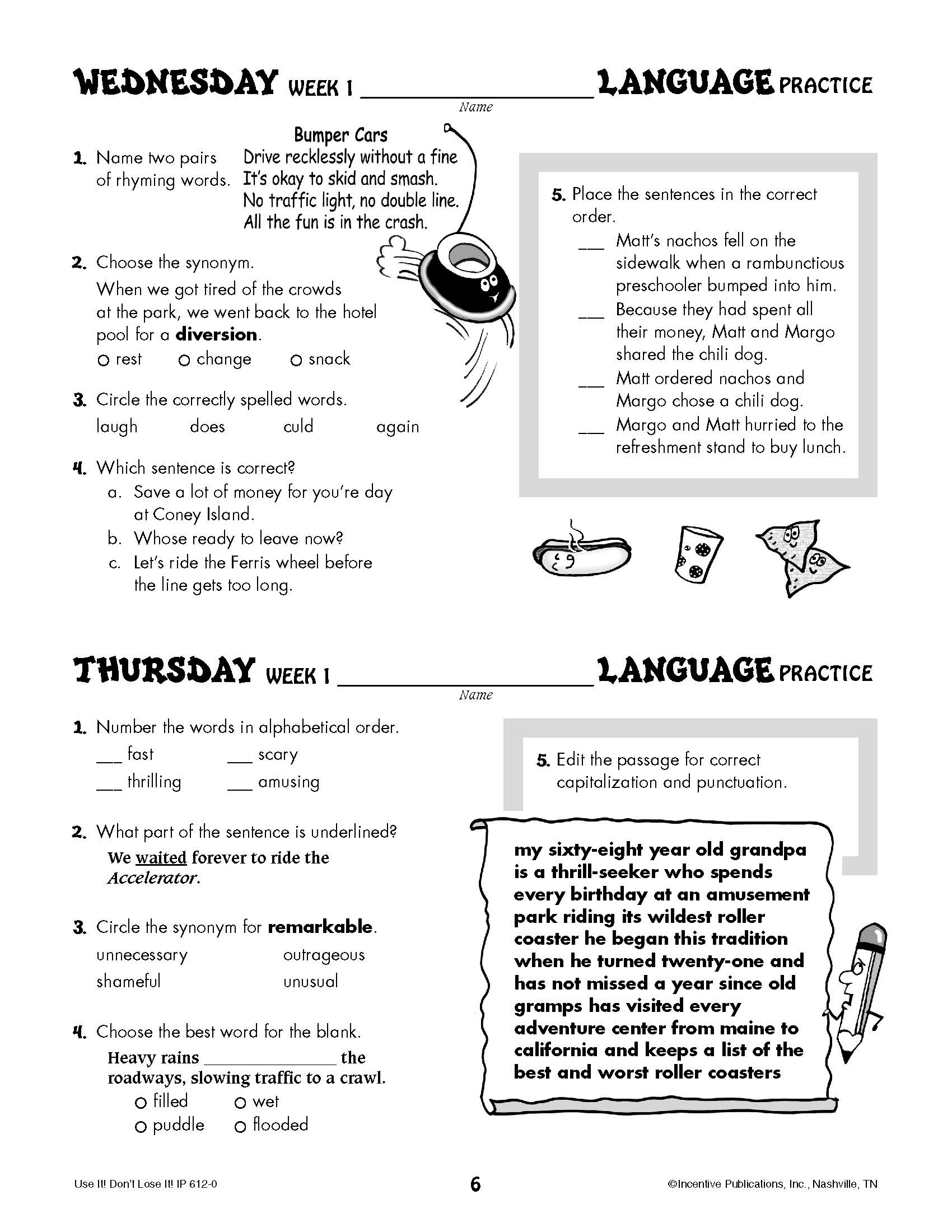 Daily Language Practice 5th Grade Page