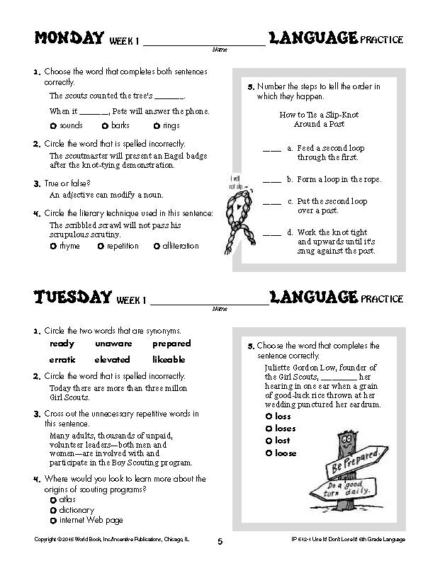 Daily Language Practice Grade 6: Use It! Don\'t Lose It! | World Book