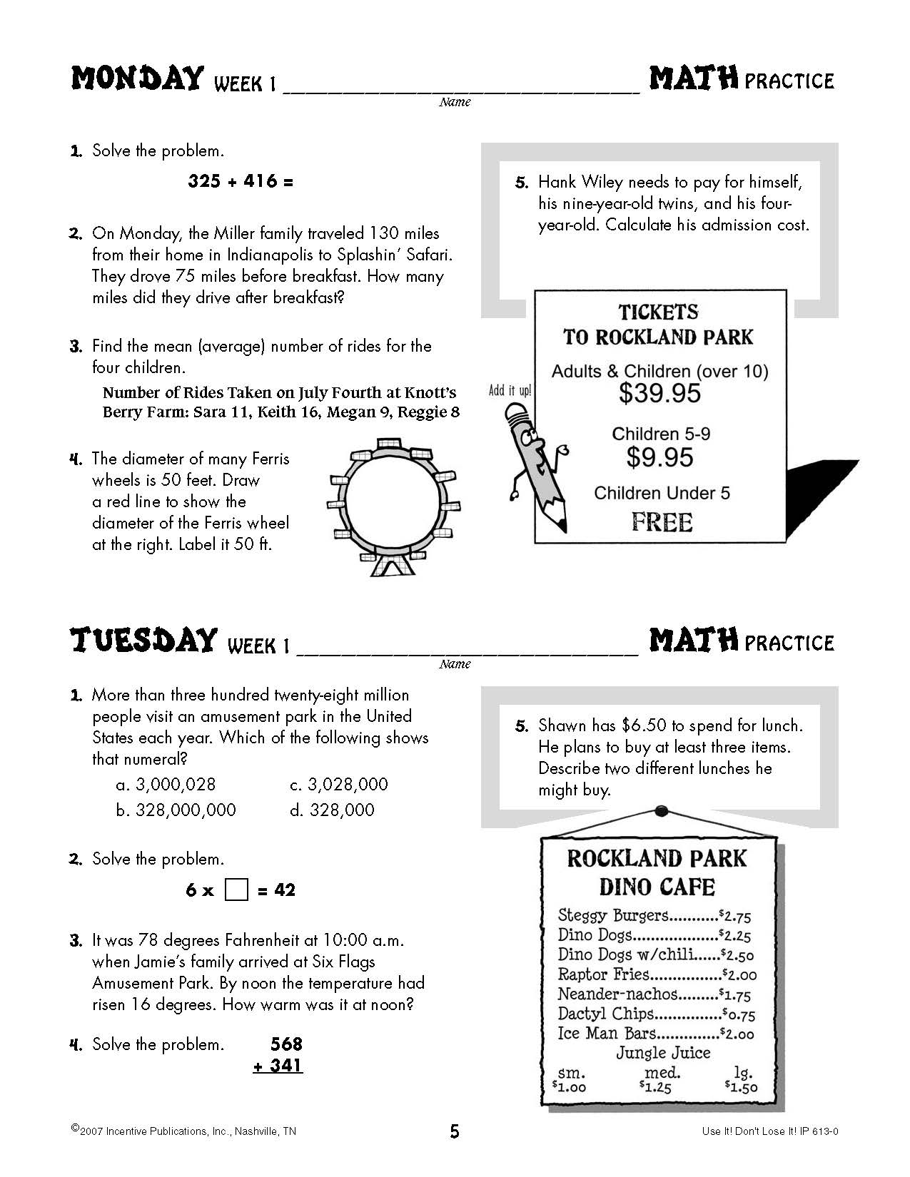Daily Math Practice 5th Grade Use It Don T Lose It World Book