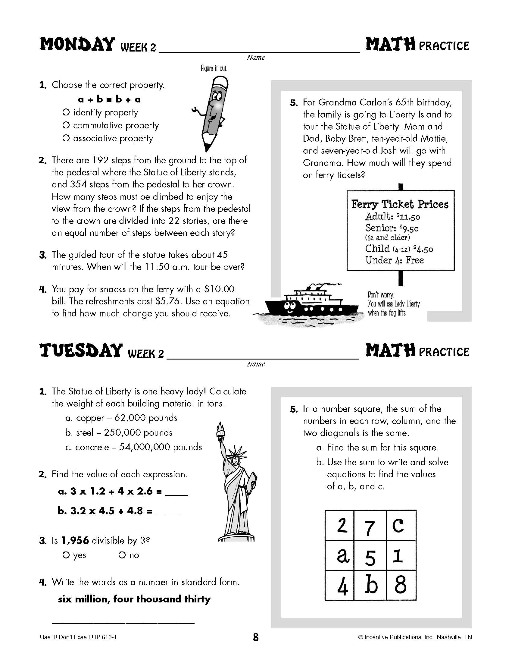 Daily Math Practice 6th Grade: Use It! Don't Lose It!