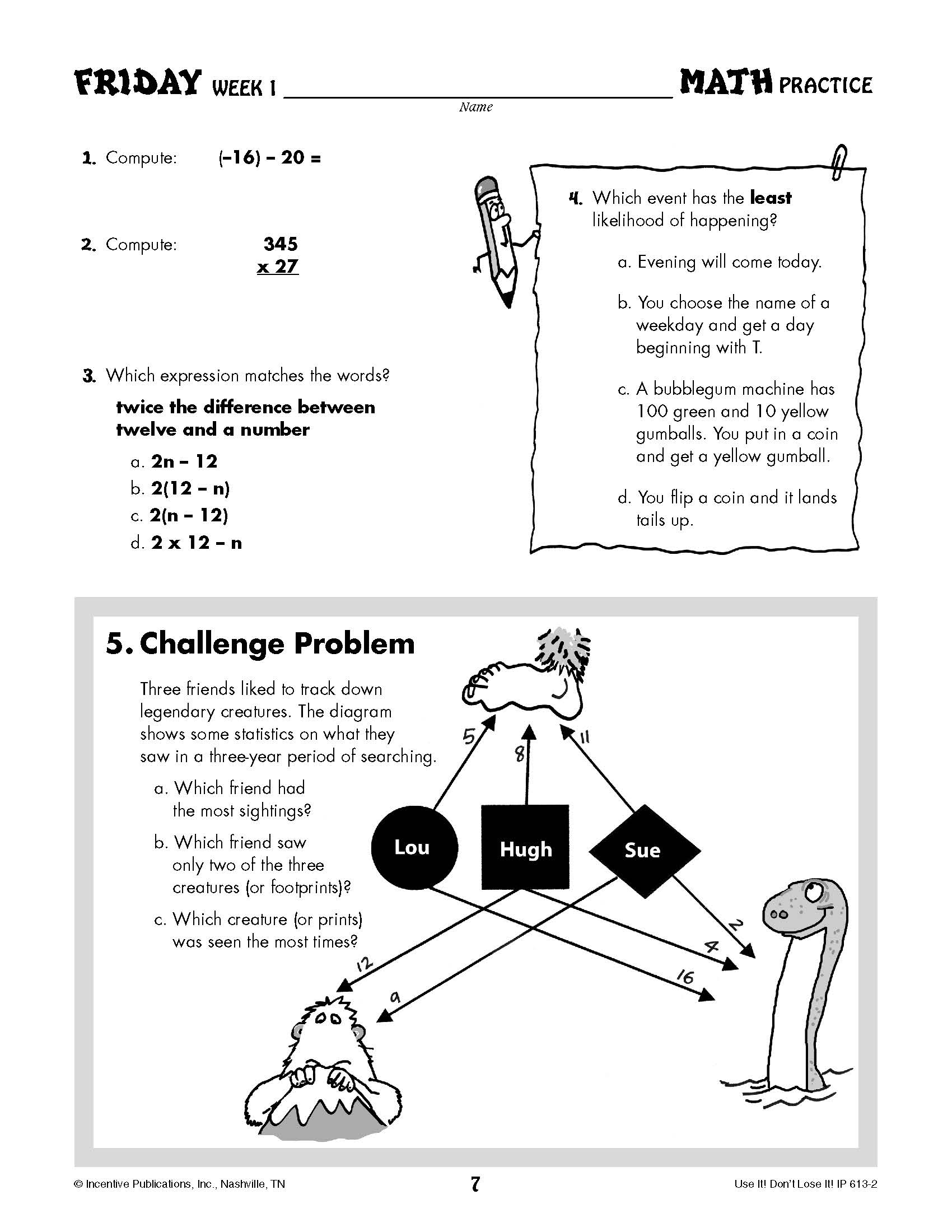 Daily Math Practice Grade 7: Use It! Don\'t Lose It! | World Book