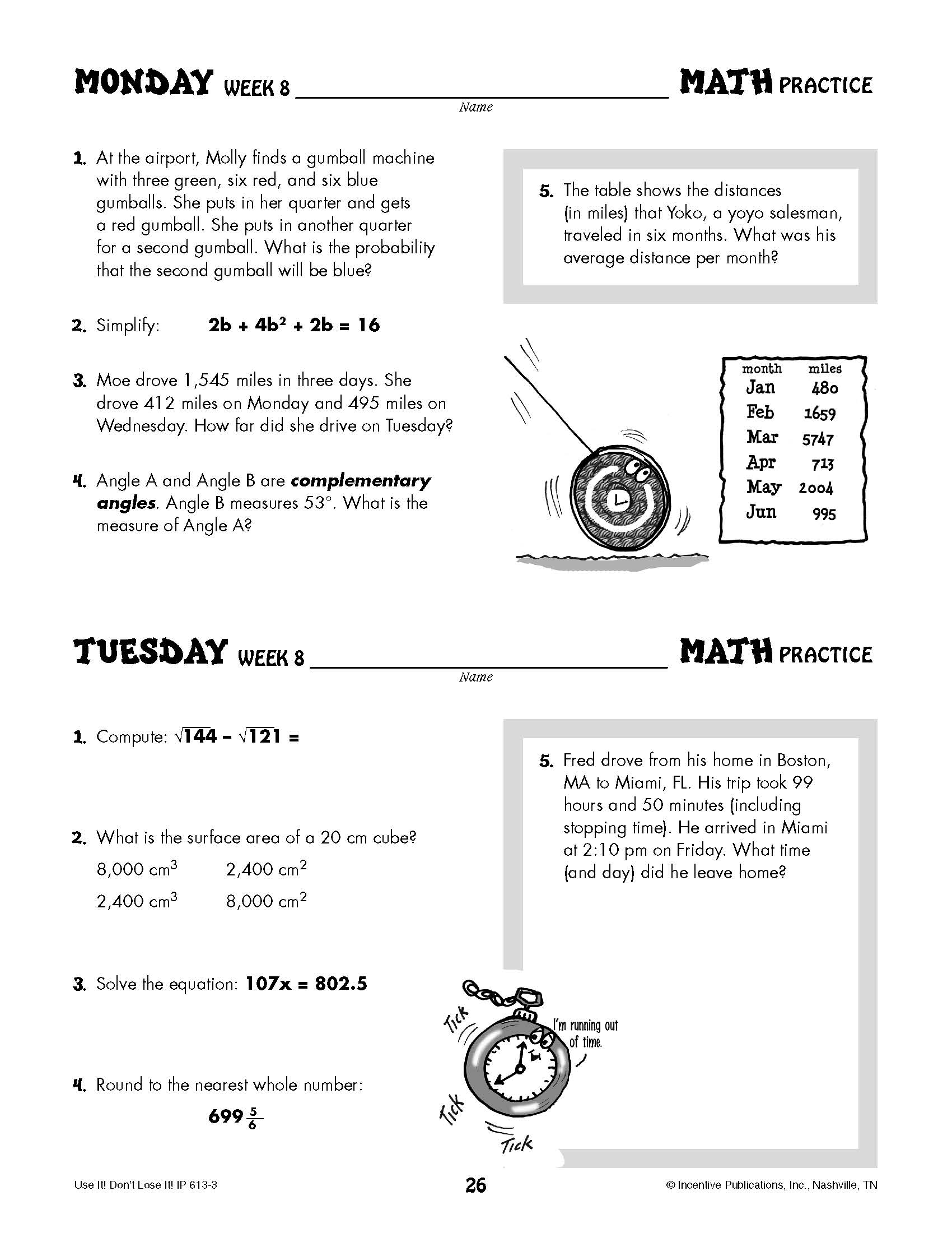 Daily Math Practice Grade 8: Use It! Don\'t Lose It! | World Book