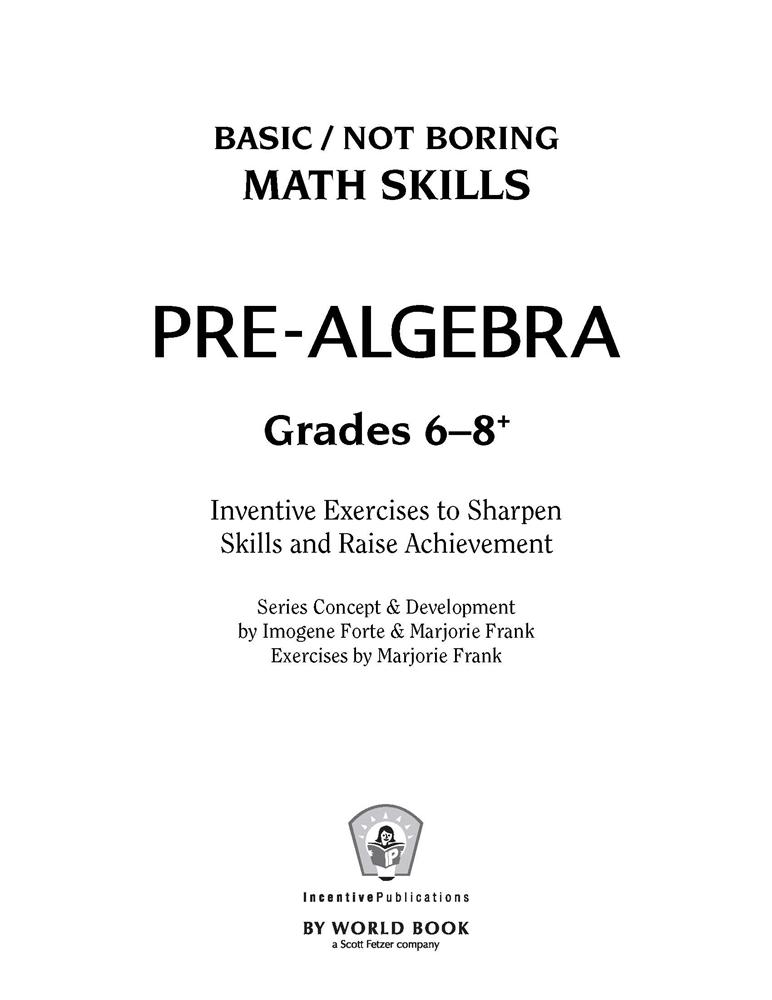 Middle Grades Pre-Algebra   World Book