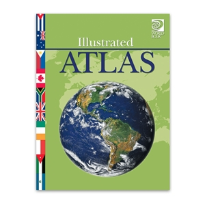 Illustrated Atlas colorful maps, map reading, geography skills, basic principles of geography, flags of world's nations, childrens maps, childrens geography skills